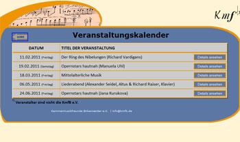 Screenshot des Veranstaltungskalenders der KMFB e.V.