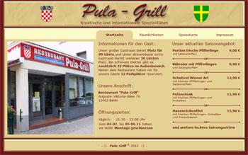 """Screenshot der Startseite von """"pula-grill.de"""""""
